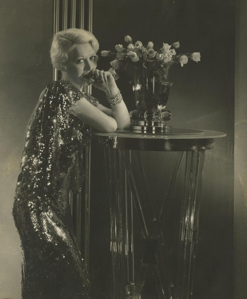 The actress wears a sequined frock in this undated photo.