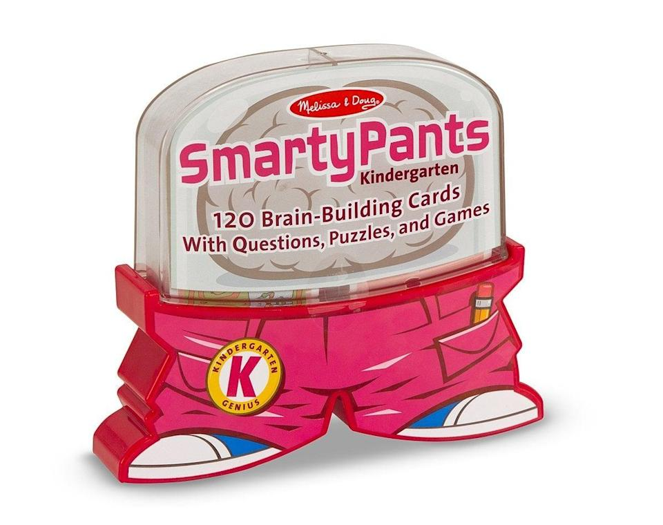 <p>Make sure your child is challenged with the <span>Melissa &amp; Doug Smarty Pants Kindergarten Card Set</span> ($11). Since they're about to start school, this is an awesome selection.</p>