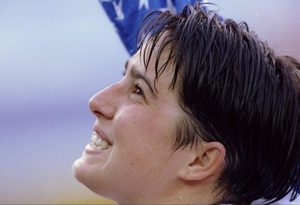 30 Jul 1992: Janet Evans celebrates during the Olympic Games in Barcelona, Spain. Evans won the 800 meter freestyle. (Bob Martin/Allsport)