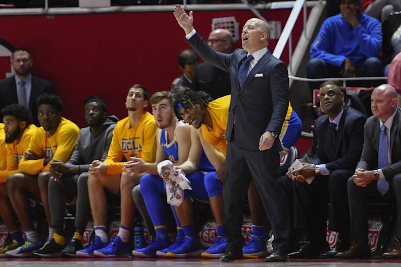 UCLA coach Mick Cronin yells to players during the second half of the team's NCAA college basketball game.