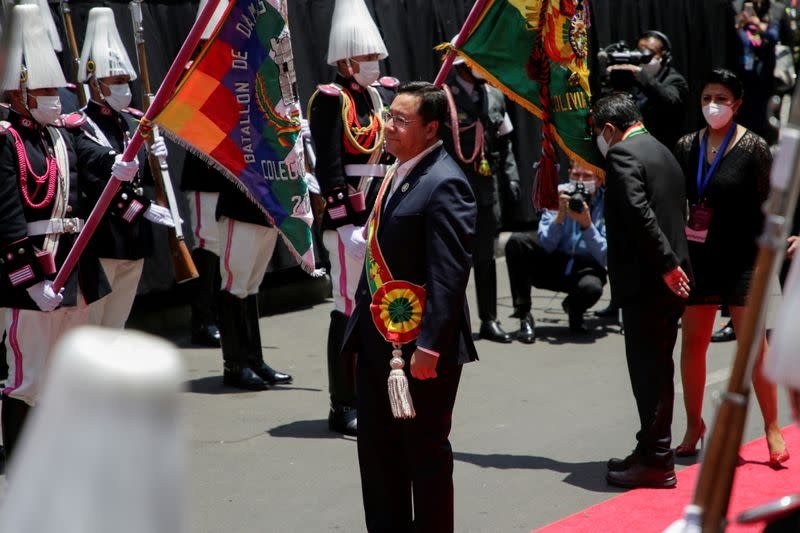 Bolivia's President Luis Arce looks on after his swearing-in ceremony at the Plaza Murillo, in La Paz