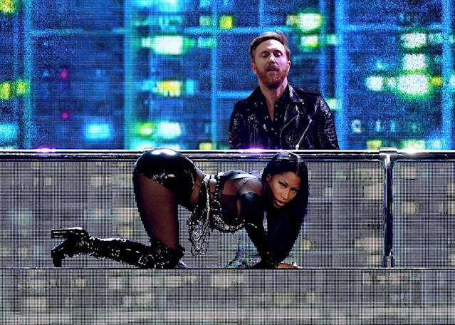 <p>DJ David Guetta and rapper Nicki Minaj perform onstage during the 2017 Billboard Music Awards at T-Mobile Arena on May 21, 2017 in Las Vegas, Nevada. (Photo by Ethan Miller/Getty Images) </p>