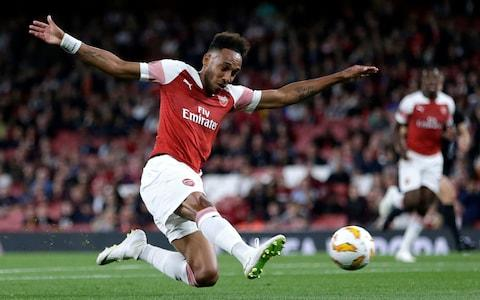 Pierre-Emerick Aubameyang of Arsenal scores his team's first goal during the UEFA Europa League Group E match between Arsenal and Vorskla Poltava - Credit: Henry Browne/Getty Images