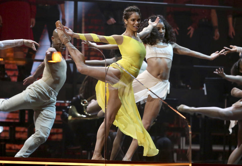 Misty Copeland, center, performs at the 62nd annual Grammy Awards on Sunday, Jan. 26, 2020, in Los Angeles. (Photo by Matt Sayles/Invision/AP)