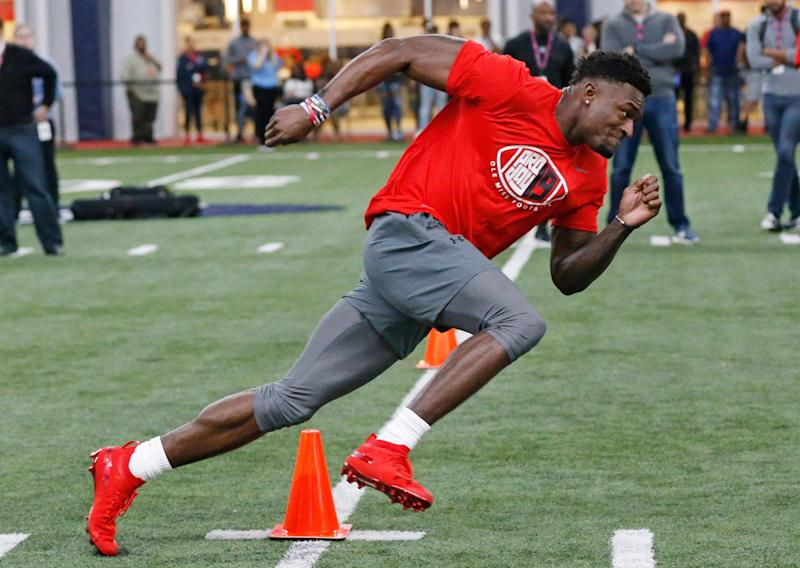 Mississippi wide receiver D.K. Metcalf works out during his Pro Day. (AP Photo)