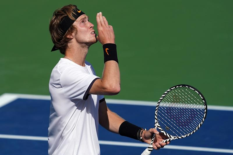 Aug 15, 2019; Mason, OH, USA; Andrey Rublev (RUS) reacts to defeating Roger Federer (SUI) during the Western and Southern Open tennis tournament at Lindner Family Tennis Center. Mandatory Credit: Aaron Doster-USA TODAY Sports