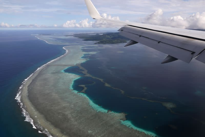 FILE PHOTO: U.S. Secretary of State Pompeo's plane makes its landing approach on Pohnpei International Airport in Kolonia, Federated States of Micronesia