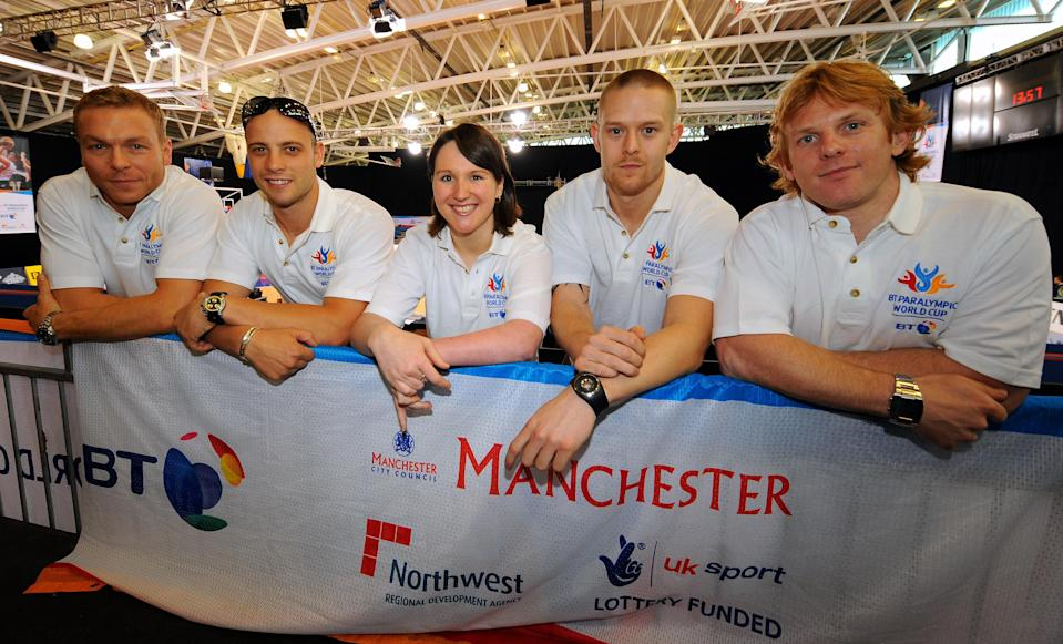 BT Ambassador Great Britain's Chris Hoy (left) with South Africa's Oscar Pistorius and Great Britain's Natalie Jones, Joe Bestwick and Jody Cundy (left to right) during the BT Paralympic World Cup Preview Day at the Manchester Regional Arena, Manchester