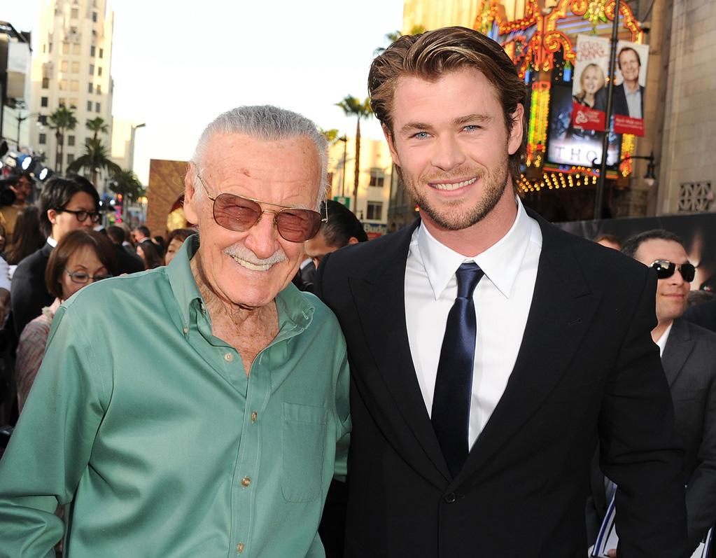 "<a href=""http://movies.yahoo.com/movie/contributor/1800319233"">Stan Lee</a> and <a href=""http://movies.yahoo.com/movie/contributor/1809982254"">Chris Hemsworth</a> attend the Los Angeles premiere of <a href=""http://movies.yahoo.com/movie/1810026342/info"">Thor</a> on May 2, 2011."