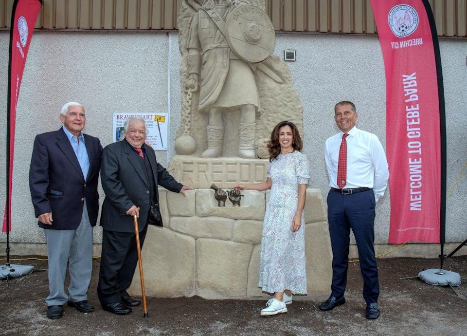 (left to right) former club chairman David Birse, Tommy Church, STV Newsreader Andrea Brymer and club chairman Kevin Mackie during the unveiling (Brechin City FC/PA) (PA Media)