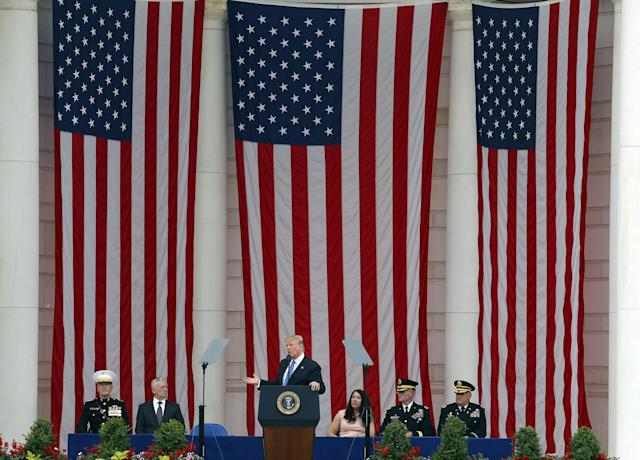 <p>President Donald Trump speaks at the Memorial Amphitheater in Arlington National Cemetery in Arlington, Va., Monday, May 29, 2017, during a Memorial Day ceremony. (Photo: Pablo Martinez Monsivais/AP) </p>