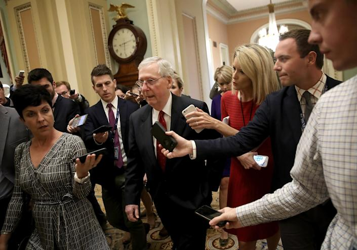 Senate Majority Leader Mitch McConnell, R-Ky., answers questions from reporters about Supreme Court nominee Brett Kavanaugh. (Photo: Win McNamee/Getty Images)