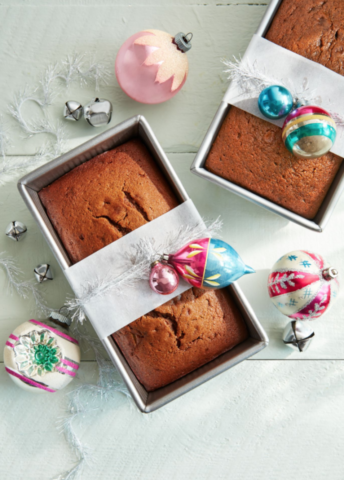 "<p>Whether you opt for homemade <a href=""https://www.countryliving.com/food-drinks/g2741/gingerbread-dessert-recipes/"">gingerbread</a> or <a href=""https://www.countryliving.com/food-drinks/g4532/pumpkin-bread-recipes/"">pumpkin bread</a>, your guests and relatives will be delighted to receive this sweet present on Christmas Day. Dress up a loaf pan with a strip of parchment paper, some <a href=""https://www.amazon.com/BRITE-Silver-18-Inch-Icicle-Tinsel/dp/B002SAPUNW"" target=""_blank"">tinsel</a>, and a few <a href=""https://www.amazon.com/RAZ-Imports-Reflector-Christmas-Ornaments/dp/B07JBWN2BH"" target=""_blank"">vintage ornaments</a>.</p><p><strong><a href=""https://www.countryliving.com/food-drinks/a25439942/gingerbread-pear-loaf-recipe/"">Get the recipe.</a></strong></p><p><strong><a class=""body-btn-link"" href=""https://www.amazon.com/RAZ-Imports-Reflector-Christmas-Ornaments/dp/B07JBWN2BH?tag=syn-yahoo-20&ascsubtag=%5Bartid%7C10050.g.645%5Bsrc%7Cyahoo-us"" target=""_blank"">SHOP VINTAGE ORNAMENTS</a></strong></p>"