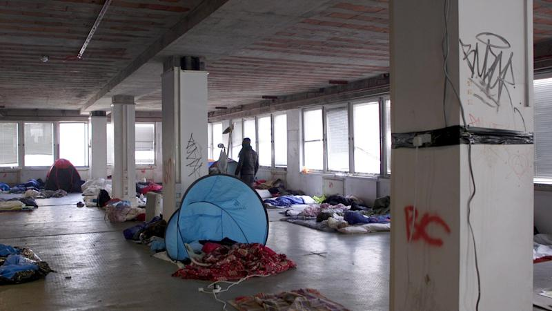 <strong>Tents and mattresses cover the floors of Sophia House</strong> (Photo: HuffPost UK)
