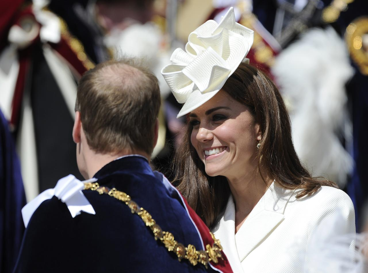 WINDSOR, ENGLAND - JUNE 18:   Catherine, Duchess of Cambridge (R) and Prince William, Duke of Cambridge attend the annual Order of the Garter Service at St George's Chapel, Windsor Castle on June 18, 2011 in Windsor, England. The Order of the Garter is the senior and oldest British Order of Chivalry, founded by Edward III in 1348. Membership in the order is limited to the sovereign, the Prince of Wales, and no more than twenty-four members.  (Photo by Paul Hackett - WPA Pool/Getty Images)