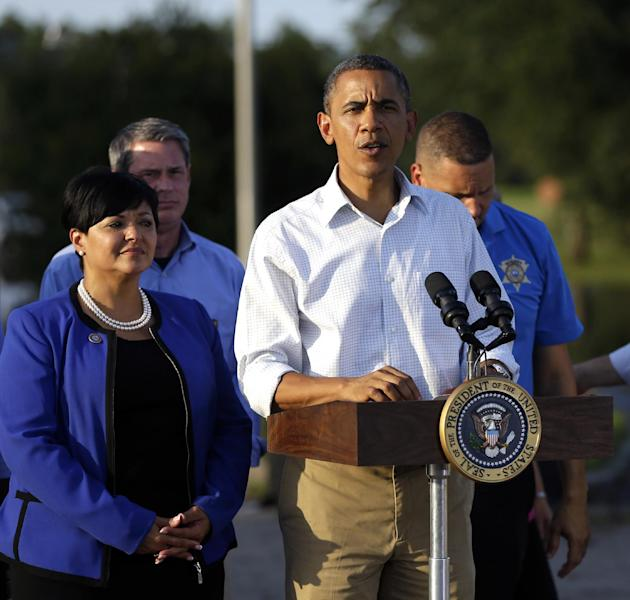President Barack Obama speaks after touring the Bridgewood neighborhood in LaPlace, La., in Saint John the Baptist Parish where he surveyed damage and got an update on the ongoing response and recovery efforts to Hurricane Isaac, Monday, Sept. 3, 2012. (AP Photo/Pablo Martinez Monsivais)