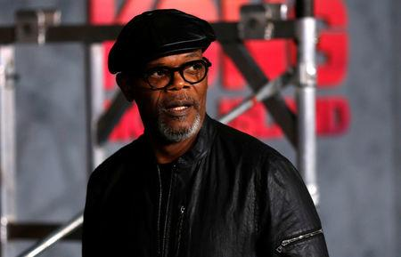 """Cast member Samuel L. Jackson poses at the premiere of """"Kong: Skull Island"""" in Los Angeles, California, U.S. March 8, 2017. REUTERS/Mario Anzuoni"""