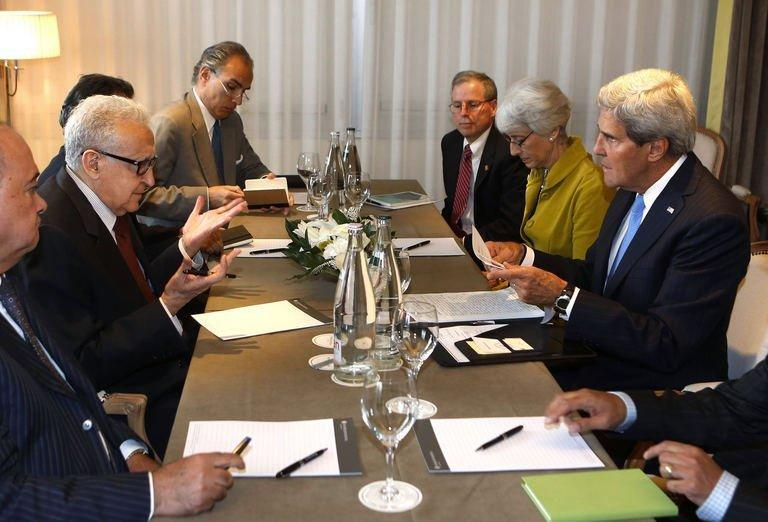 Secretary of State John Kerry with UN Special Representative for Syria Lakhdar Brahimi in Geneva, September 12, 2013