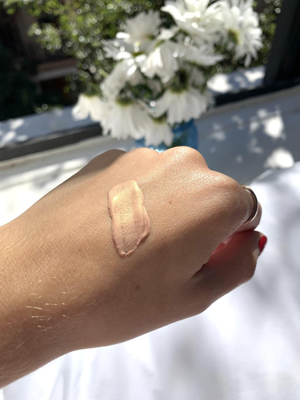 <p>The shade matched my skin tone, and the product applied really well. Even better, one pump goes a long way, so be sure to put it on something (like your hand or a brush) before applying it to your face. The texture is a little more watery than I expected, but overall it has a nice consistency.</p>