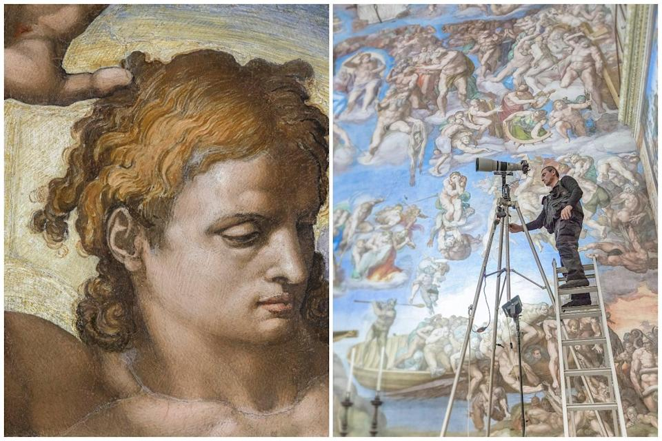 <p>Detail from The Last Judgement by Michelangelo, and one of many photographers in the Sistine Chapel</p> (© Musei Vaticani )