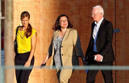 FILE PHOTO: Andrea Nahles, leader of Social Democratic Party (SPD), leaves after a meeting with Chancellor Angela Merkel and German Interior Minister Horst Seehofer to decide about the future of Hans-Georg Maassen, head of the BfV domestic intelligence agency at the chancellery in Berlin, Germany, September 18, 2018. REUTERS/Fabrizio Bensch