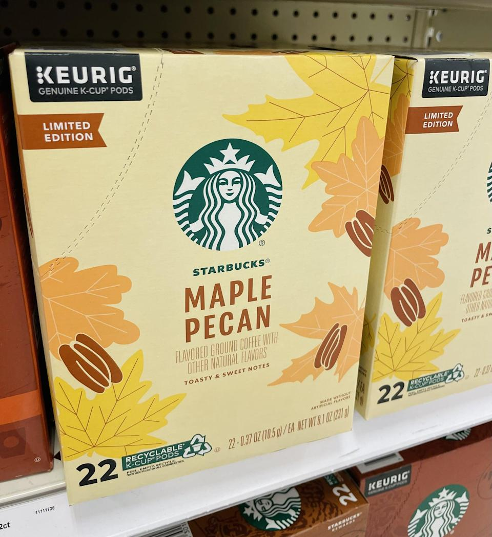 <p>Your mornings are about to get a whole lot yummier with these <span>Starbucks Maple Pecan Coffee Keurig K-Cup Pods</span> ($16 for 22) - make sure to check out the Pumpkin Spice and Fall Blend flavors, too.</p>