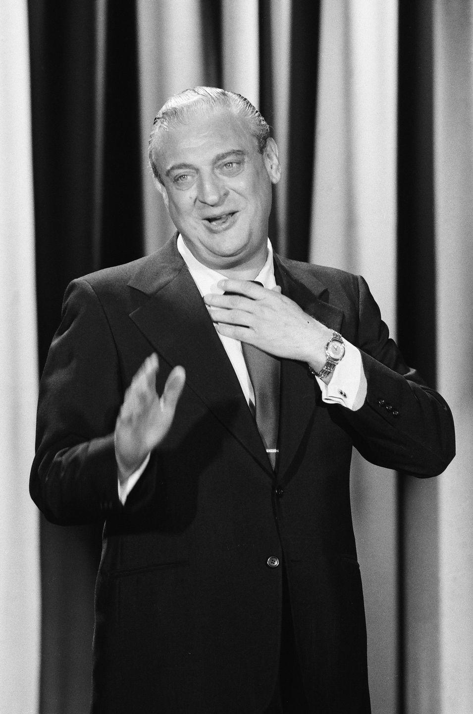 """<p>Rodney Dangerfield married his first wife, Joyce Indig, in 1949 at the start of his comedy career. He ended up temporarily quitting show business to provide for his family, opening up a paint company in New Jersey. """"I wanted marriage. I was always in love with love, the whole thing, the white house, green shutters, whatever,"""" Rodney told <a href=""""https://people.com/archive/those-hips-those-eyes-vol-26-no-4/"""" rel=""""nofollow noopener"""" target=""""_blank"""" data-ylk=""""slk:People"""" class=""""link rapid-noclick-resp""""><em>People</em></a>. However, the couple divorced in 1962. Despite remarrying a year later, they called it quits for good with a second divorce in 1970. </p>"""