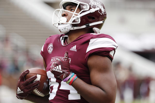 Mississippi State tight end Dontea Jones (84) runs toward the end zone during the team's spring NCAA college football game in Starkville, Miss., Saturday, April 13, 2019. (AP Photo/Rogelio V. Solis)
