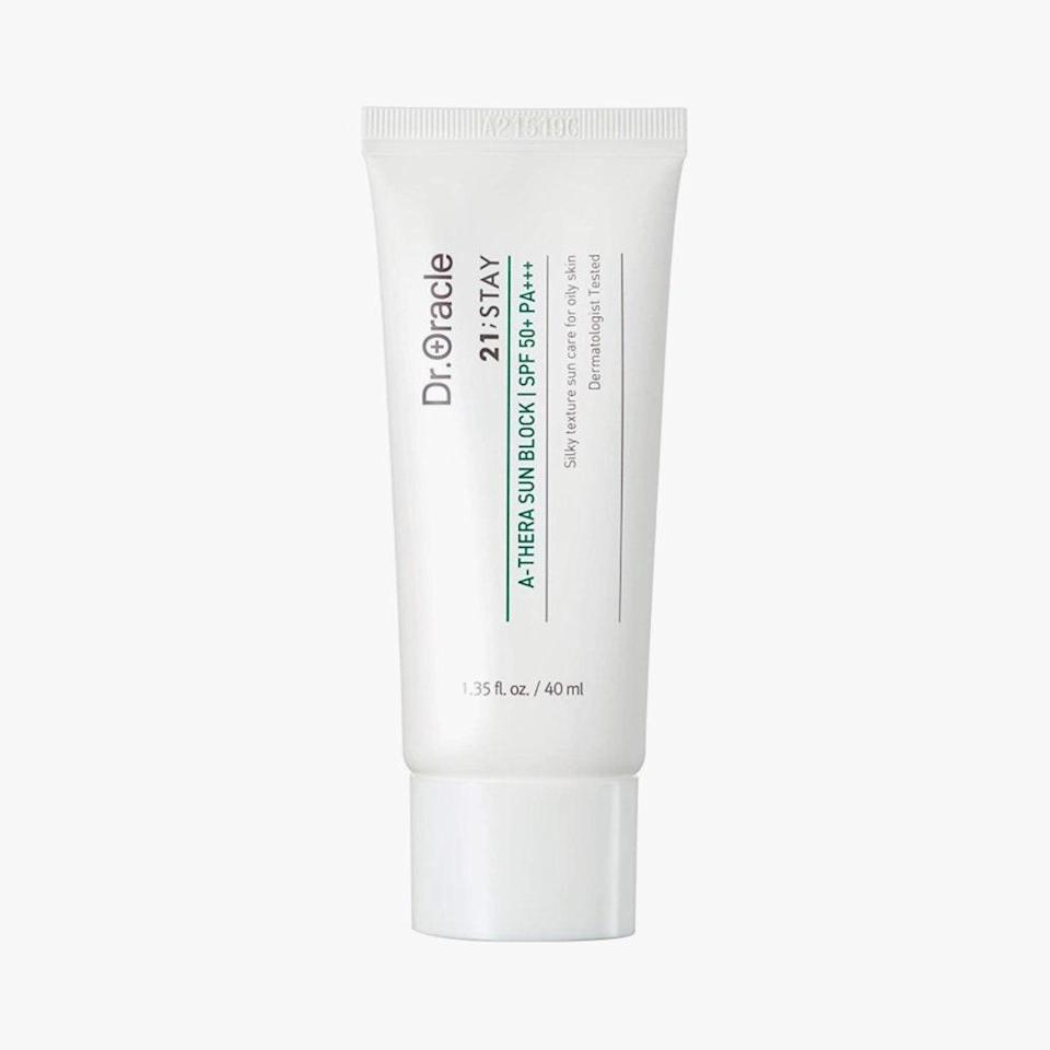 """A K-Beauty favorite, Dr. Oracle's A-Thera Sunblock SPF 50 is a safe choice for sensitive skin between its lightweight gel-cream formula, calming ingredients (such as centella asiatica extract and bamboo water), and shine-free, mattifying finish. $28, DR. ORACLE. <a href=""""https://www.amazon.com/Dr-oracle-Moisturizer-Sunscreen-Sensitive-Dermatologist/dp/B082KC1577"""" rel=""""nofollow noopener"""" target=""""_blank"""" data-ylk=""""slk:Get it now!"""" class=""""link rapid-noclick-resp"""">Get it now!</a>"""