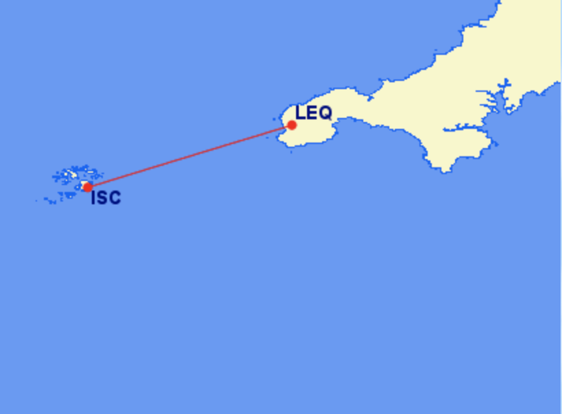 <p>The 20-minute journey between the Isles of Scilly and Land's End costs £93 one way</p> (Great Circle Mapping)