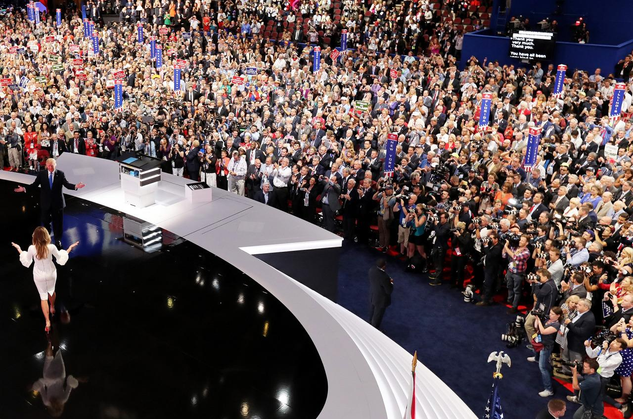 <p>Republican presidential candidate Donald Trump introduces his wife Melania on the first day of the Republican National Convention on July 18, 2016 in Cleveland. (Photo: Chip Somodevilla/Getty Images)</p>