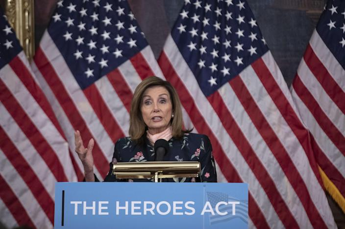 House Speaker Nancy Pelosi during a news conference at the Capitol on Wednesday. (Cheriss May/Bloomberg via Getty Images)