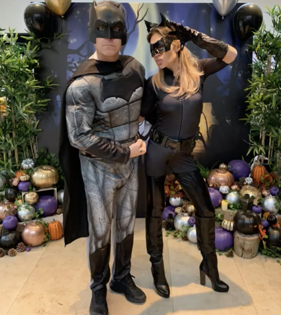 <p>The 'X Factor' partners in crime opted for Batman vs Catwoman costumes this year. <i>[Photo: Instagram]</i> </p>