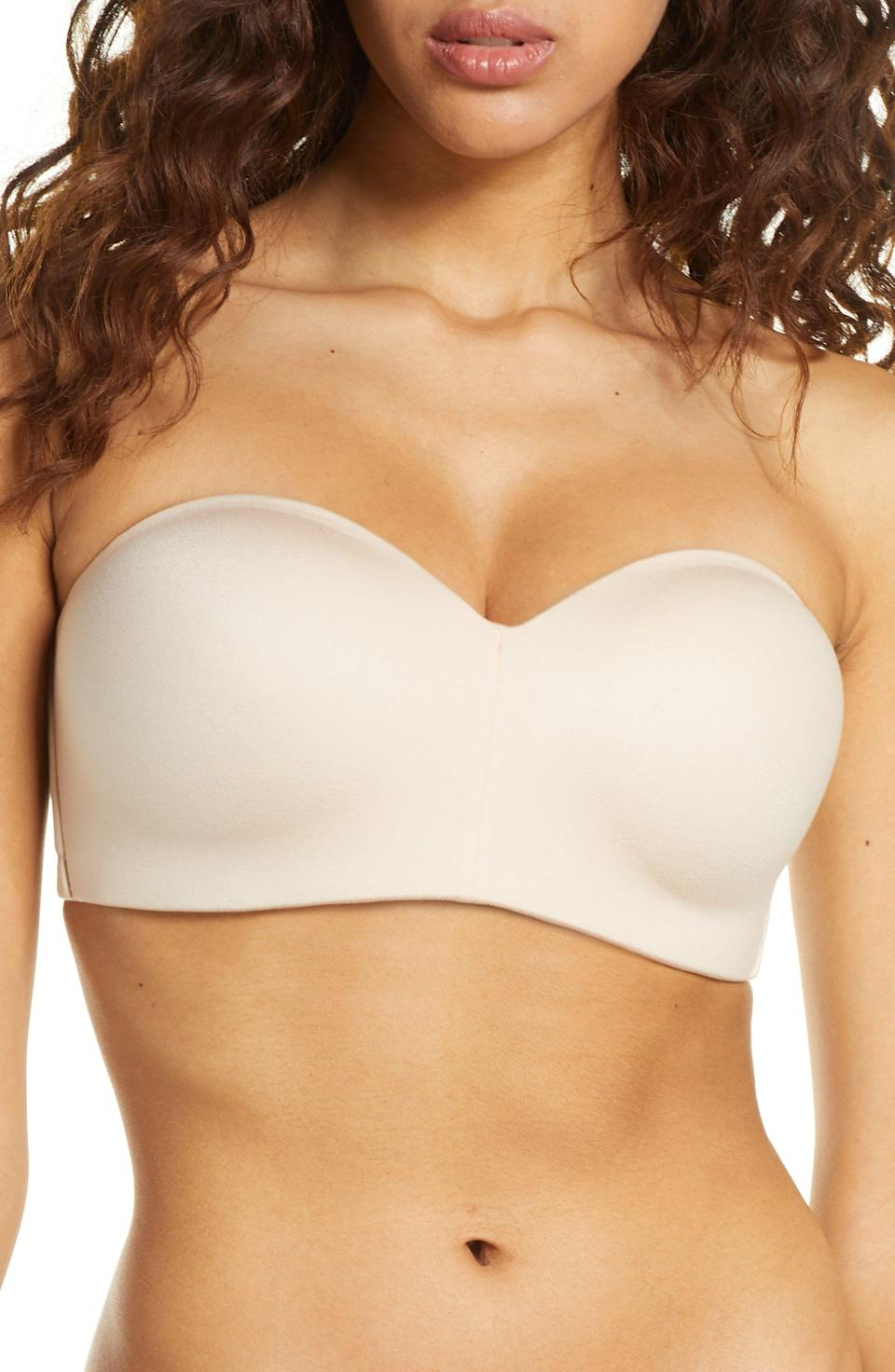 """<p><strong>WACOAL</strong></p><p>amazon.com</p><p><strong>$68.00</strong></p><p><a href=""""https://www.amazon.com/Wacoal-Womens-Staying-Power-Strapless/dp/B07R95S3LC?tag=syn-yahoo-20&ascsubtag=%5Bartid%7C10055.g.27437595%5Bsrc%7Cyahoo-us"""" rel=""""nofollow noopener"""" target=""""_blank"""" data-ylk=""""slk:Shop Now"""" class=""""link rapid-noclick-resp"""">Shop Now</a></p><p>If you're looking for a supportive strapless bra without the underwire, this style from Wacoal (the same brand as our top pick) has<strong> a wide, smoothing band and built-in boning so it <em>actually</em> stays put,</strong> unlike many other wireless options. It also has foam cups to add comfort and give shape.</p><p><em>Available in band sizes 32-40 and cup sizes B-DDD</em></p>"""