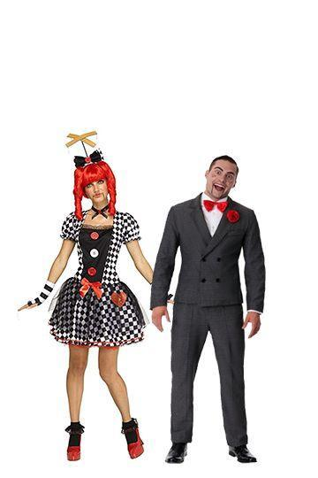 """<p>Combine this <em>Goosebumps-</em>inspired Slappy costume with a woman's ventriloquist doll costume, and you'll have an easy and very creepy look.</p><p><a class=""""link rapid-noclick-resp"""" href=""""https://www.amazon.com/Fun-World-Womens-Marionette-Multi/dp/B07CW5N1Y9/?tag=syn-yahoo-20&ascsubtag=%5Bartid%7C10070.g.28669645%5Bsrc%7Cyahoo-us"""" rel=""""nofollow noopener"""" target=""""_blank"""" data-ylk=""""slk:Shop Women's Costume"""">Shop Women's Costume</a></p><p><a class=""""link rapid-noclick-resp"""" href=""""https://www.amazon.com/Goosebumps-Slappy-Costume-Adult-X-Large/dp/B07JK3M5N2?tag=syn-yahoo-20&ascsubtag=%5Bartid%7C10070.g.28669645%5Bsrc%7Cyahoo-us"""" rel=""""nofollow noopener"""" target=""""_blank"""" data-ylk=""""slk:Shop Men's Costume"""">Shop Men's Costume</a> </p>"""