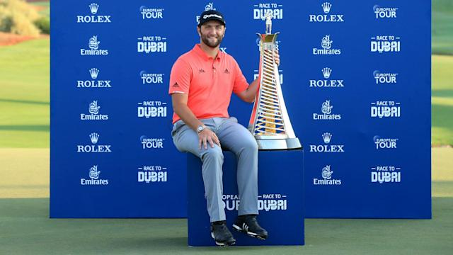 Pressured by Tommy Fleetwood's late charge, Jon Rahm held his nerve on the final green to win the DP World Tour Championship.