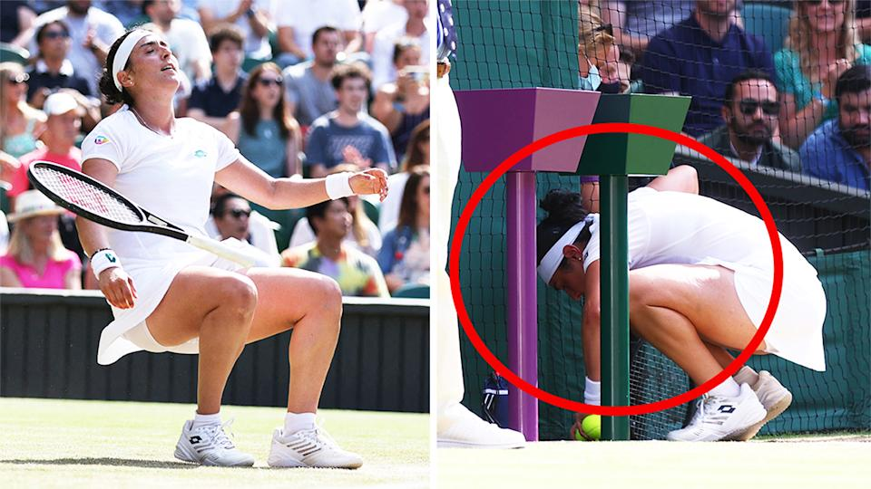 Ons Jabuer (pictured right) vomiting on Centre Court before match point and (pictured left) falling to the ground in joy after winning.