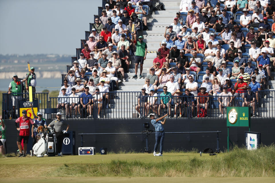 United States' Collin Morikawa hits his tee shot on the 6th hole during the final round of the British Open Golf Championship at Royal St George's golf course Sandwich, England, Sunday, July 18, 2021. (AP Photo/Peter Morrison)