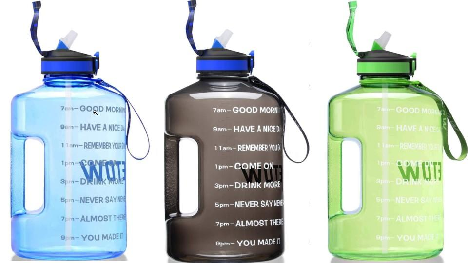 ETDW Gallon Water Bottle with Straw and Time Marker - Amazon, $26