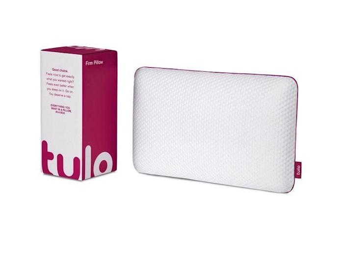 """<strong><a href=""""https://fave.co/2uh8zMg"""" rel=""""nofollow noopener"""" target=""""_blank"""" data-ylk=""""slk:Tulo's high-density foam pillow"""" class=""""link rapid-noclick-resp"""">Tulo's high-density foam pillow</a></strong> is made of a cooling material that maintains your body temperature so you're never too hot or too cold. Its foam is infused with titanium so it's incredibly firm, which is what you need to align your spine for a good night's sleep. No neck pain necessary. <strong><a href=""""https://fave.co/2uh8zMg"""" rel=""""nofollow noopener"""" target=""""_blank"""" data-ylk=""""slk:Get it at Tulo, $89"""" class=""""link rapid-noclick-resp"""">Get it at Tulo, $89</a></strong>."""