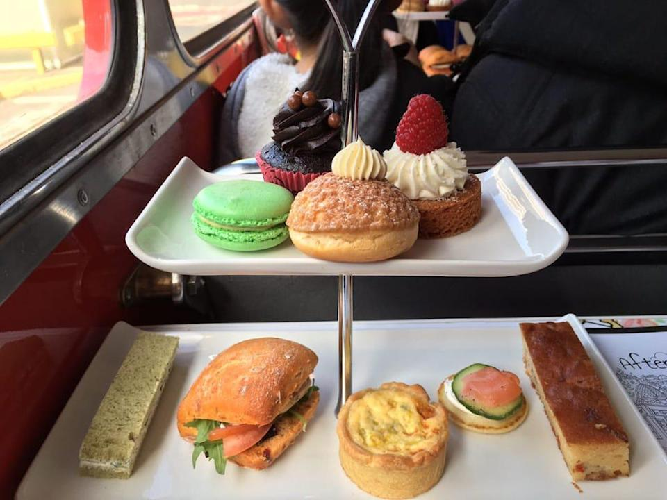 "<p>Having classic afternoon tea in a double-decker bus only doubles the fun. An extension of Brigit's Bakery in London, the bus tours on this cafe-on-wheels last roughly 90 minutes and pass by <a href=""https://www.theactivetimes.com/travel/famous-landmarks-demolished?referrer=yahoo&category=beauty_food&include_utm=1&utm_medium=referral&utm_source=yahoo&utm_campaign=feed"" rel=""nofollow noopener"" target=""_blank"" data-ylk=""slk:must-see landmarks"" class=""link rapid-noclick-resp"">must-see landmarks</a> like Big Ben, The Houses of Parliament, Westminster Abbey and Downing Street.</p>"