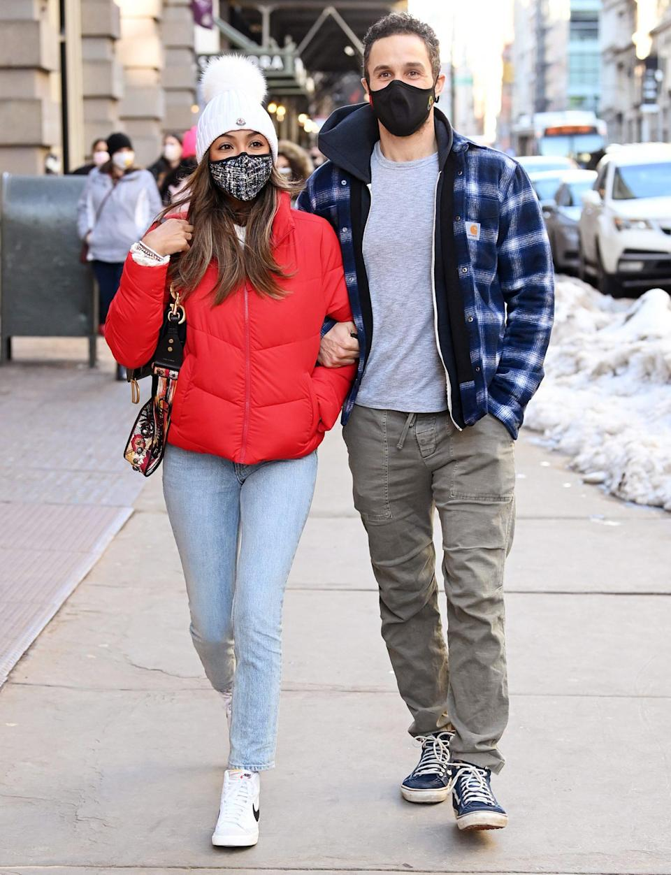 <p>Tayshia Adams and Zac Clark mask up while shopping in N.Y.C. on Monday. </p>