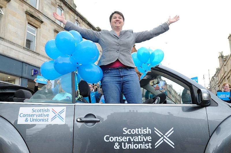 Leader of the Scottish Conservative Party Ruth Davidson attends an election campaign event in Hamilton, Scotland on May 2, 2015 (AFP Photo/Andy Buchanan)