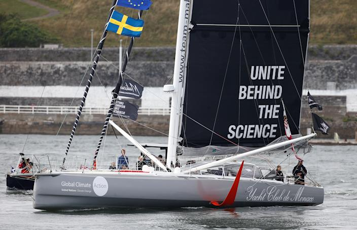 Swedish teenage climate activist Greta Thunberg starts her trans-Atlantic boat trip to New York, in Plymouth, Britain, August 14, 2019. REUTERS/Henry Nicholls