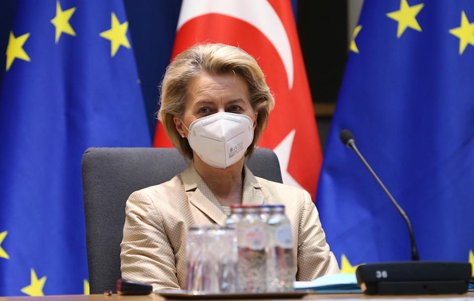 BRUSSELS, BELGIUM - MARCH 19: European Commission President Ursula von der Leyen and European Council President Charles Michel (not seen) attend a video conference meeting with Turkish President Recep Tayyip Erdogan (not seen) in Brussels, Belgium on March 19, 2021. (Photo by Dursun Aydemir/Anadolu Agency via Getty Images)