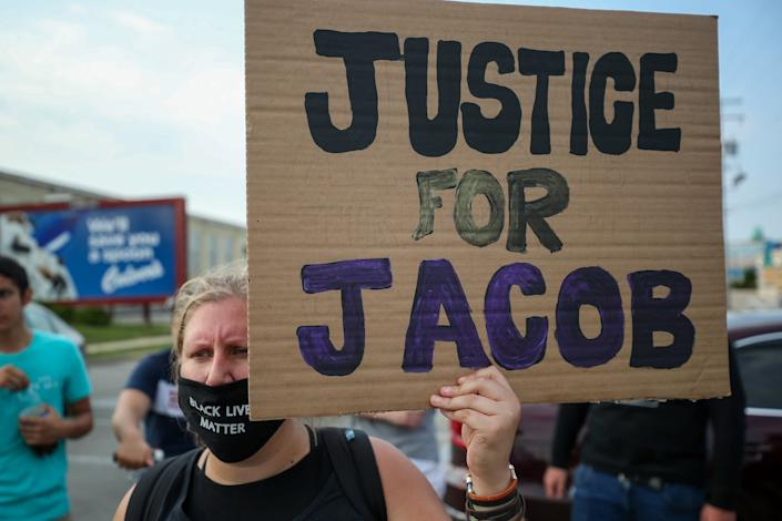 A protest against the shooting of Jacob Blake in Kenosha, Wisconsin: Anadolu Agency via Getty Images