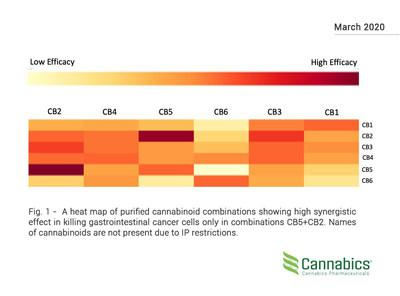 A heat map of purified cannabinoid combinations showing high synergistic effect in killing gastrointestinal cancer cells only in combinations CB5+CB2. Names of cannabinoids are not present due to IP restrictions.