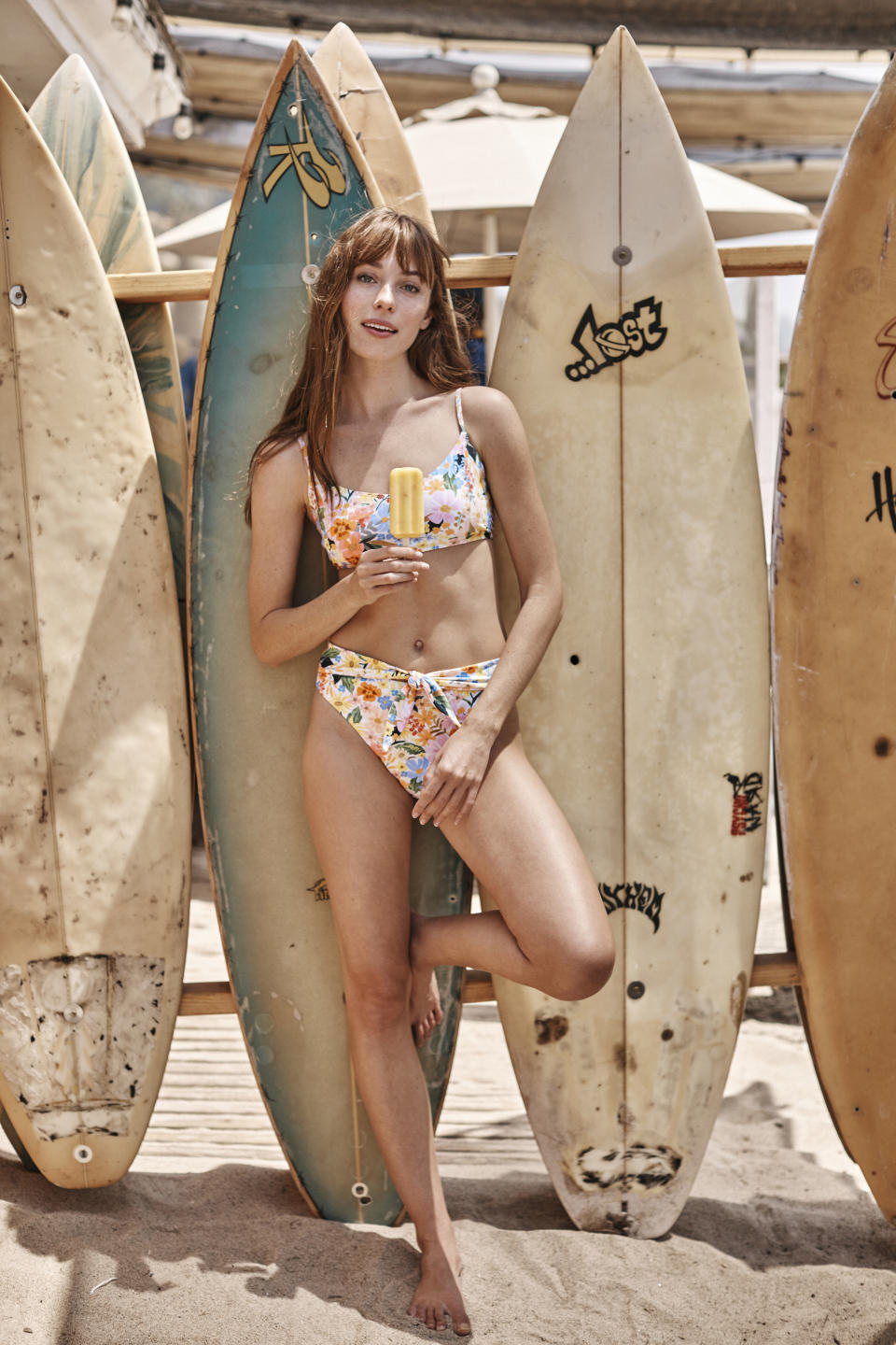 The Wanderlust Bikini Top and Tie Belt High Leg Mid Rise Bottom. Image courtesy of Rifle Paper Co.