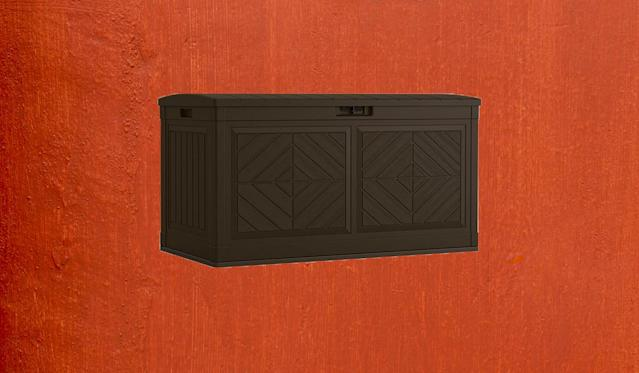 This deck box won't clash with your patio furniture. (Photo: Home Depot)