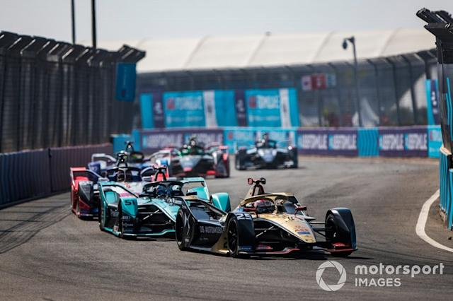 "Jean-Eric Vergne, DS Techeetah, DS E-Tense FE20 James Calado, Jaguar Racing, Jaguar I-Type 4, Jérôme d'Ambrosio, Mahindra Racing, M6Electro <span class=""copyright"">Sam Bloxham / Motorsport Images</span>"
